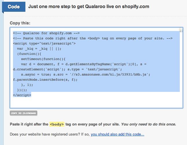 Installing the JavaScript on Shopify – Qualaroo