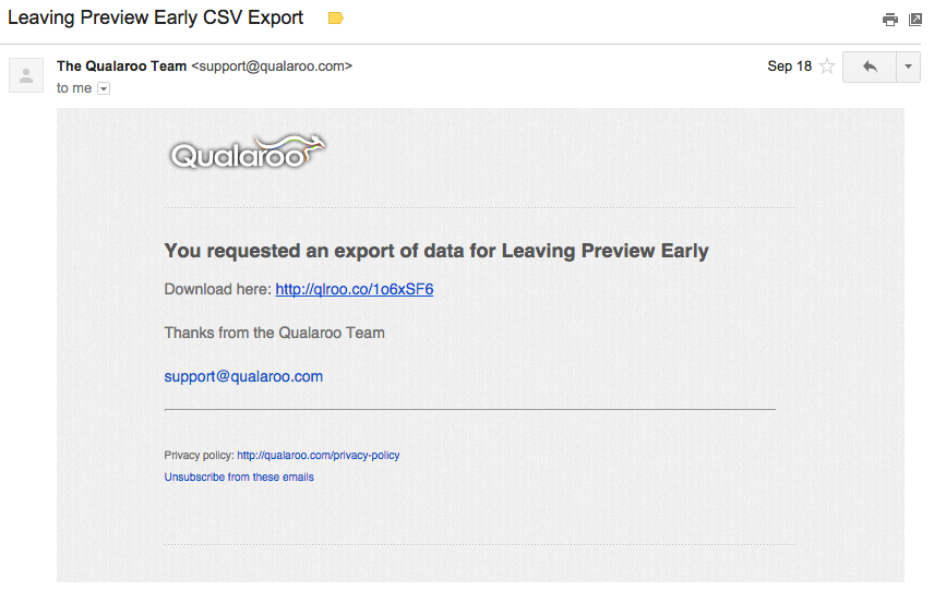 Exporting your responses to CSV – Qualaroo