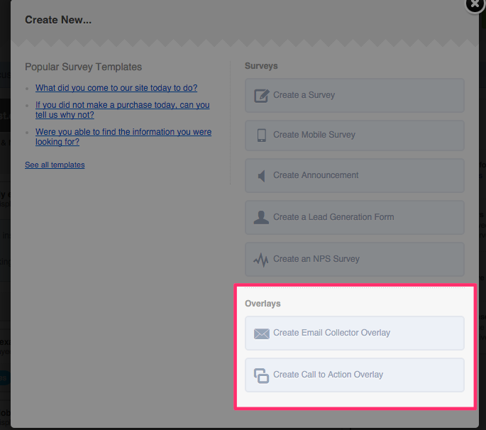 Creating an Email or Call to Action Overlay – Qualaroo