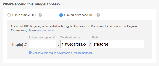 Targeting by Advanced URL with Regular Expressions – Qualaroo